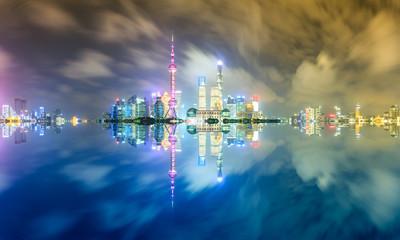 Beautiful Shanghai skyline at night,modern urban background