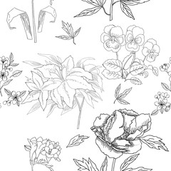 Seamless Pattern with Flowers Sketches. Hand drawn botanical el
