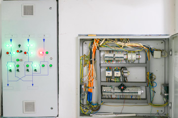 The backup power management system is located next to the open electrical panel. Electric box with lots of automatons and voltage relays.
