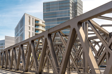 The Magdeburger bridge is a truss bridge crossing a watercourse in the new Hafencity of Hamburg