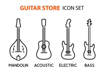 Icon set of acoustic, electric guitars and mandolin in line art style