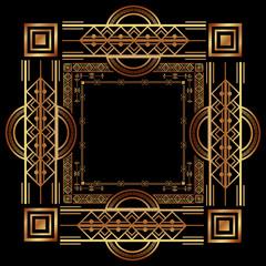 art deco golden frame ornament luxury vintage decoration abstract vector illustration