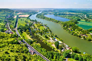 View of the Seine River at Chateau Gaillard in Normandy, France Wall mural