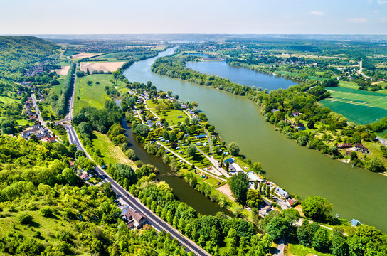 View of the Seine River at Chateau Gaillard in Normandy, France