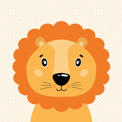 Cute vector lion head, front view. In the background of polka dots.