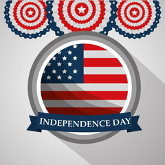 round label flag american independence day vector illustration
