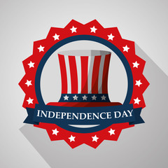 top hat in badge flag american independence day vector illustration