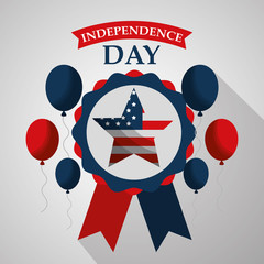 star in rosette balloons flying american independence day vector illustration