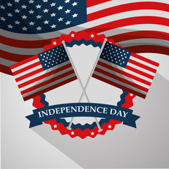 crossed flags label ornament american independence day vector illustration