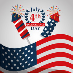 flag and rockets fireworks american independence day vector illustration