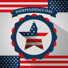 star badge flag ornament american independence day vector illustration