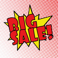 big sale comic explosion retro design deal tag