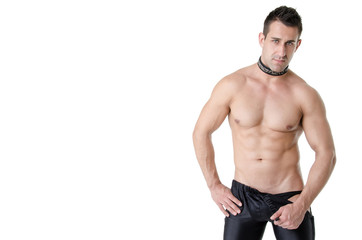 Stripper. Sexy man. White background.