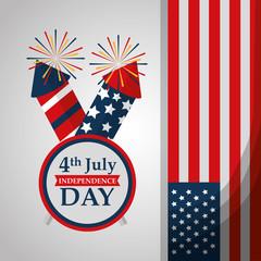 rockets fireworks label flag american independence day vector illustration