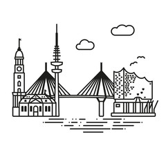 Hamburg city landmarks vector illustration