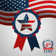 flag on rosette american independence day vector illustration