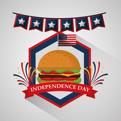 pennant and burger food for american independence day vector illustration