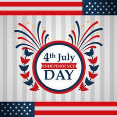 label flags american independence day vector illustration