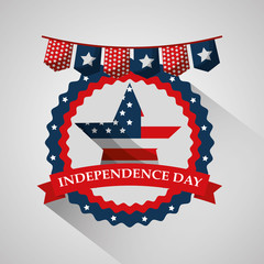 star and emblem flag american independence day vector illustration