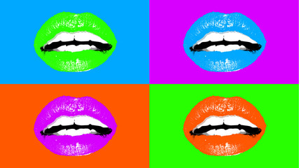 Four adoring female mouths in light colors