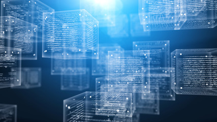 Digital Program Cubes in Cyberspace Wall mural