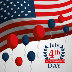 flag and balloons decoration american independence day vector illustration