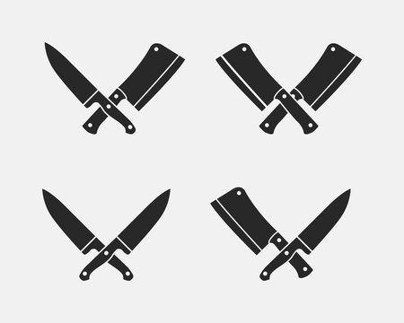 Set of meat cutting knives icons. Butcher knives isolated on a white background. Vector illustration