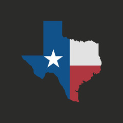 Wall Mural - Texas map icon isolated on a black background. Vector illustration