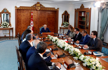 Tunisia's President Beji Caid Essebsis speaks during a meeting at Carthage Palace in Tunis