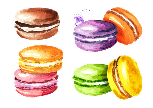 Traditional french Cakes macaron or macaroon, colorful almond cookies set. Watercolor hand drawn illustration, isolated on white background