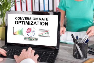 Conversion rate optimization concept on a laptop