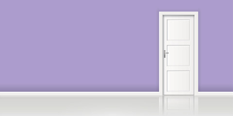 Element of architecture - vector background wall and closed white door