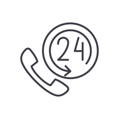24 hours support black icon concept. 24 hours support flat  vector symbol, sign, illustration.