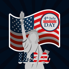 flag and statue of liberty american independence day vector illustration