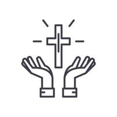 Faith in God black icon concept. Faith in God flat  vector symbol, sign, illustration.