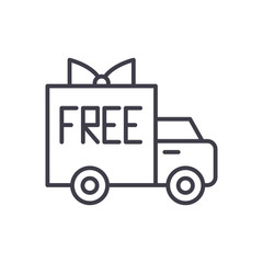 Free shipping black icon concept. Free shipping flat  vector symbol, sign, illustration.