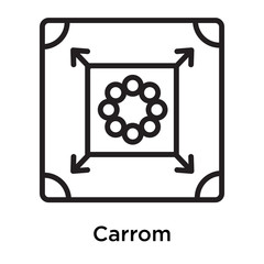 Carrom icon vector sign and symbol isolated on white background