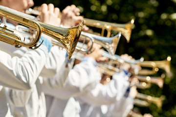 Classic Brass band plays the musical in garden.