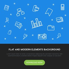 charts, mobile, photos, bookmarks outline vector icons and elements background concept on blue background.Multipurpose use on websites, presentations, brochures and more