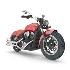 Classic Motorbike isolated on white. 3D illustration