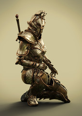 Side profile of a female fully armored ornamental knight . 3d rendering