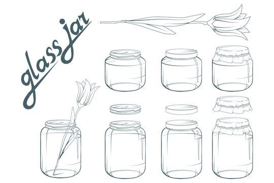 Glass jar set. Jar hand drawn. Lettering of glass jar. Vector artwork.