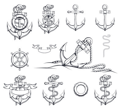 Set of different illustrations of anchors. Ship's Steering Wheel. Life buoy. Hand Drawn anchor. Vector artwork.