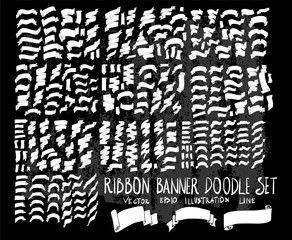 Hand drawn Sketch doodle vector Ribbon set on Chalkboard eps10