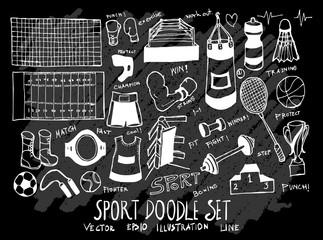 Hand drawn Sketch doodle vector Sport set on Chalkboard eps10