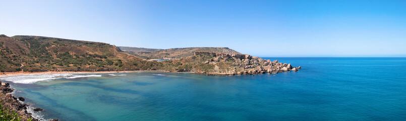 Azure bay of Ghajn Tuffieha panorama, Malta