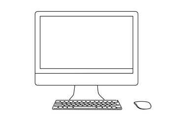 Continuous line drawing of a desktop, keyboard and mouse.