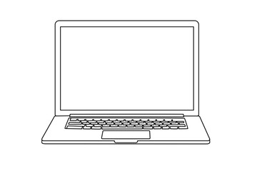 Continuous line drawing of a modern laptop