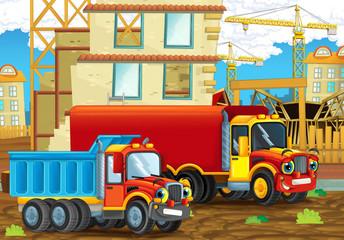 Cartoon scene with industry trucks on construction site - illustration for children