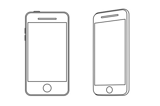 Hand line drawing of a smartphone. Front and side view.